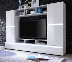 Medienwand TV Schrank TTX01 weiß Glanz Fernsehschrank mit 220 x 155 cm