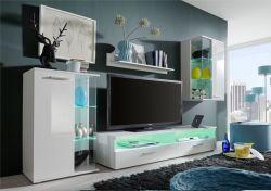 Wohnzimmer Anbauwand Glossy weiß glänzend LED RGB Beleuchtung 238 x 176 cm