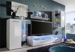 Anbauwand Wohnwand Glossy weiß glänzend LED RGB Beleuchtung 238 x 176 cm
