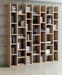 Wohnwand Bücherwand MDor Dekor Eiche Natur mit Strukturoberfläche