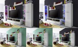 Wohnzimmer Set Glossy2 weiß glänzend LED RGB Beleuchtung 279 x 166 cm