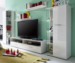 Wohnwand Gloss2 TTX6 weiß Glanz mit 2 hohen Vitrinenschränken Breite 280 cm