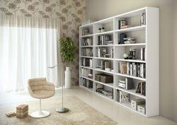 Bücherwand Bücherregal Raumteiler MDor Lack weiß matt