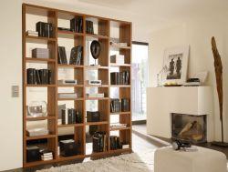 Bücherwand Bücherregal Raumteiler MDor Walnuss Dekor