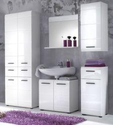 Badmöbel Set Skin Hochglanz weiß 5-teilig Badezimmer Waschplatz