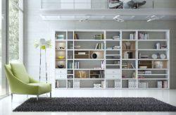 Wohnwand Bücherwand MDor Dekor Lack weiß Hochglanz Eiche Natur LED-Beleuchtung Breite 420 cm