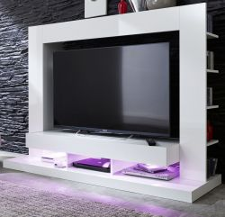 Medienwand Wohnwand Cyneplex weiss Glanz 164 x 124 cm LED Farbwechsel Beleuchtung