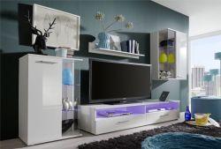 Wohnkombination Anbauwand Glossy weiß glänzend LED RGB Beleuchtung 238 x 176 cm