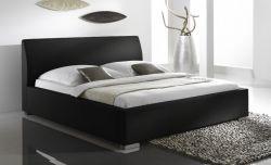Doppelbett Polsterbett Altora Leder Optik schwarz 200 x 200 cm mit Komforthöhe Überlänge wahlweise