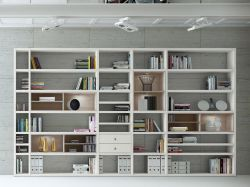 Wohnwand Bücherwand MDor Dekor Lack weiß matt Eiche Natur LED-Beleuchtung Breite 385 cm
