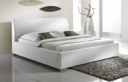 Doppelbett Polsterbett Altora Leder Optik weiß 180 x 200 cm mit Komforthöhe Überlänge wahlweise