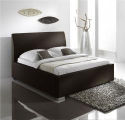 Doppelbett Polsterbett Altora Leder Optik braun 140 x 200 cm mit Komforthöhe Überlänge wahlweise