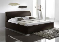 Doppelbett Polsterbett Altora Leder Optik braun 160 x 200 cm mit Komforthöhe Überlänge wahlweise
