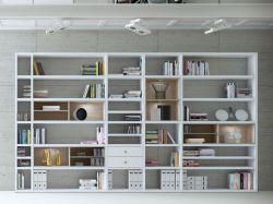 Wohnwand Bücherwand MDor Dekor Lack weiß Hochglanz Eiche Natur LED-Beleuchtung Breite 385 cm