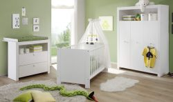 Babyzimmer Set Olivia weiß 3-teilig mit Kleiderschrank Wickelkommode Babybett
