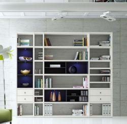 Wohnwand Bücherwand MDor Dekor Lack weiß matt / schwarz LED-Beleuchtung Breite 252 cm
