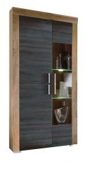 Vitrine Hochschrank Wohnzimmer Boom Nussbaum mit Touchwood dunkel inkl. LED Beleuchtung