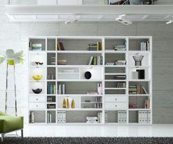 Wohnwand Bücherwand MDor Dekor Lack weiß Hochglanz LED-Beleuchtung Breite 311 cm