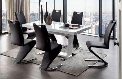 Essgruppe Tisch Manhattan Hochglanz weiß 6 x Schwingstuhl schwarz Amado Freischwinger