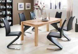 Essgruppe Tisch Peter Kernbuche massiv 6x Schwingstuhl Amado schwarz Freischwinger