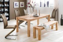 Essgruppe Tischgruppe Tisch und Sitzbank Peter Kernbuche massiv 4 x Stuhl Amado Freischwinger