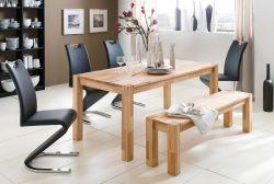 Essgruppe Tischgruppe Tisch und Sitzbank Peter Kernbuche Massivholz 4 x Stuhl Amado Freischwinger