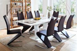 Essgruppe Tischgruppe Ausziehtisch Tirso Hochglanz weiß lackiert 8 x Stuhl Amado schwarz Freischwinger