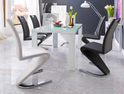 Essgruppe Tisch Tizio Hochglanz weiß 6 x Schwingstuhl Amado Freischwinger