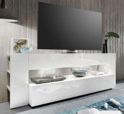 Lowboard TV Hifi Fernsehtisch Onyx weiß Hochglanz 185 x 65 cm