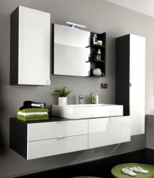 Badezimmer Badmöbel Set Beach weiß Hochglanz grau optional mit Waschbecken und Spiegellampe