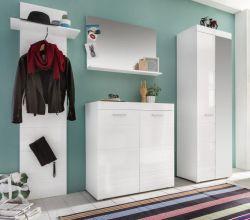 Garderobe Amanda 4-teilig Hochglanz weiß 230 cm mit Garderobenschrank