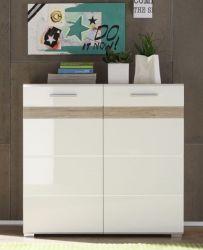 Kommode Flurschrank SetOne weiß Hochglanz - San Remo Eiche 91 x 87 cm