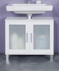 Badezimmer Waschbeckenunterschrank Florida in weiß und Glas satiniert Badmöbel 65 x 56 cm Badschrank
