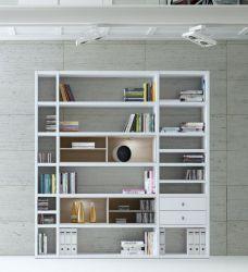Wohnwand Bücherwand MDor Dekor Lack weiß Hochglanz Eiche Natur LED-Beleuchtung Breite 207 cm
