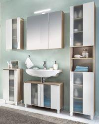 Badezimmer Badmöbel Set Porto in weiß und Eiche sägerau hell Badkombination 5-teilig mit Glas satiniert 161 x 191 cm