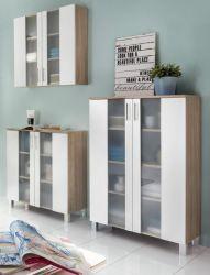 Badmöbel Badezimmerschränke Porto Set 3-teilig weiß / Eiche