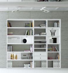 Wohnwand Bücherwand MDor Dekor Lack weiß Hochglanz LED-Beleuchtung Breite 241 cm