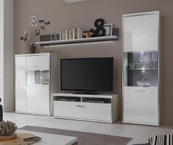 Wohnwand Trento 2R in weiß Hochglanz mit Edelstahl 301 x 201 cm