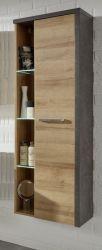 Badezimmer: Hängeschrank Bay Eiche Riviera, Beton grau (48 x 160 cm)