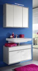 Badmöbel Set Spa in weiß Glanz und grau / Industrie Beton Design 2-teilig