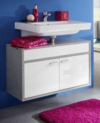Badmöbel Waschbeckenunterschrank Spa in weiß Glanz und grau / Industrie Beton Design