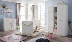Babyzimmer komplett Set Ronja in weiß 5-teilig mit Unterbauregal und Wandregal
