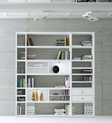 Wohnwand Bücherwand MDor Dekor Lack weiß Hochglanz LED-Beleuchtung Breite 207 cm