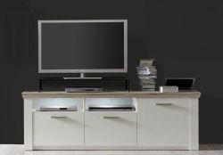 Lowboard Sideboard TV-Unterteil Elo 170 cm Pinie Struktur weiß und Eiche San Remo Sand