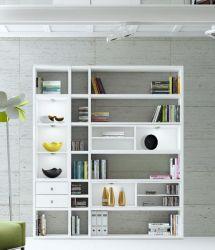 Wohnwand Bücherwand MDor Dekor Lack weiß Hochglanz LED-Beleuchtung Breite 193 cm