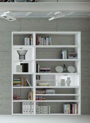 Wohnwand Bücherwand MDor Dekor Lack weiß Hochglanz LED-Beleuchtung Breite 181 cm