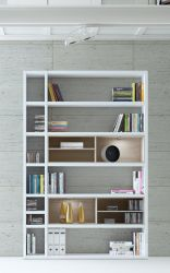 Wohnwand Bücherwand MDor Dekor Lack weiß Hochglanz Eiche Natur LED-Beleuchtung Breite 147 cm