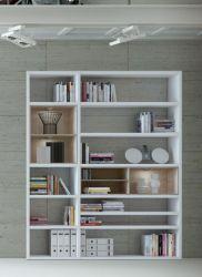 Wohnwand Bücherwand MDor Dekor Lack weiß Hochglanz Eiche Natur LED-Beleuchtung Breite 181 cm