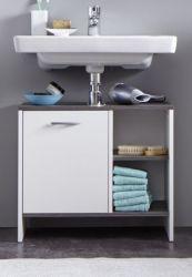 Waschbeckenunterschrank California in weiß und Sardegna grau / Rauchsilber