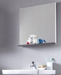 Badmöbel Spiegel California in weiß und Sardegna grau Rauchsilber Badspiegel mit Ablage 60 x 60 cm